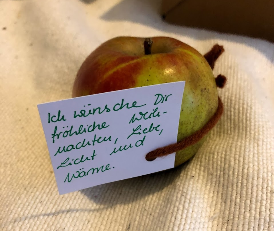 Ein Apfel der Aktion Seeds of Love